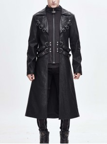 Stand-Up Collar Metal D-Buckle Decoration Waist Leather Hasp Black Punk Leather Long Coat