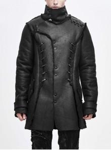 Asymmetrical Lapel Front Metal Button Lace-Up Black Punk Fur Coat