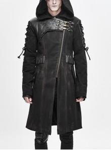 Asymmetrical Slanted Lapel Metal Hasp Lace-Up Long Sleeve Black Punk Twill Hooded Coat