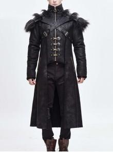 Stand-Up Collar Shoulder Fur Cape Front Metal Hasp Chest Loops Black Punk Long Fur Coat