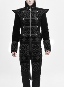 Stand-Up Collar Front Woven Strap Metal Retro Button Decoration Side Large Slit Black Gothic Jacquard Coat
