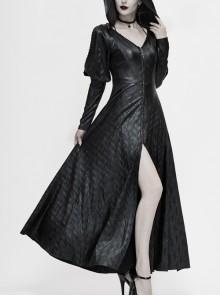 V-Neck Splice Mesh Long Sleeve Back Waist Lace-Up Black Gothic Knit Velvet Hooded Coat