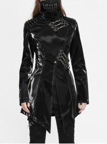 Irregular Collar Metal Hasp Lace-Up Black Punk Leather Coat