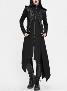 Metal Nail Leather Strap Irregular Hem Black Punk Knitted Fleece Hooded Long Coat