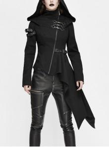Black High Collar Metal Hasp Leather Arm Loop Irregular Hem Punk Hooded Twill Coat