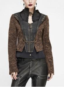 Front Metal Retro Button Chain Decoration Brown Punk Jacquard Short Coat