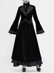 Collar Applique Lace Ribbon Flare Sleeve Back Waist Lace-Up Black Gothic Weft Velveteen Coat