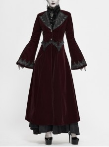 Collar Applique Lace Ribbon Flare Sleeve Back Waist Lace-Up Wine Red Gothic Weft Velveteen Coat