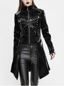 Stand-Up Collar Front Metal Rivet Decoration Long Sleeve Frill Hem Black Punk Leather Coat