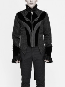 Stand-Up Collar Front Chest Embroidery Swallowtail Ham Black Gothic Jacquard Coat