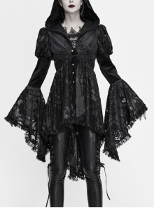 Front Chest Decals Metal Retro Button Lace Cuff Black Gothic Knit Velvet Hooded Coat