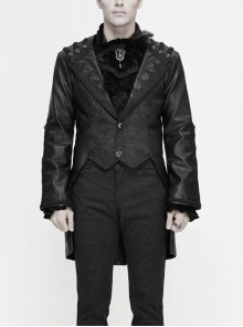 Woven Ribbon Collar Metal Retro Button Flare Sleeve Black Gothic Leather Coat