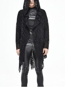 Black V-Neck Long Sleeve Sharp Corner Hem Punk Broken Holes Coat