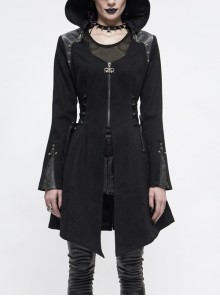Metal Rivet Decoration Side Lace-Up Sharp Corner Hem Black Punk Twill Coat