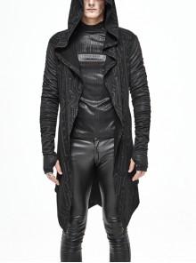 Black Tuck Long Sleeve Punk Line Map Printing Knit Hooded Coat