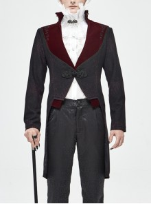 Stand-Up Collar Splice Burgundy Weft Velvet Embroidery Front Buckle Black Gothic Jacquard Coat