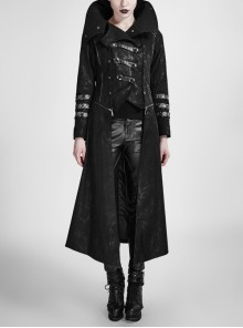 Women Stand-Up Collar Front Chest Metal Buckle Leather Strap Long Sleeve Black Punk Twill Coat