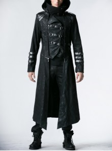 Men Stand-Up Collar Front Chest Metal Buckle Leather Strap Long Sleeve Black Punk Twill Coat