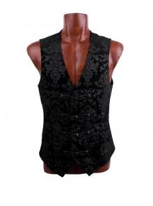 Front Woven Strap Metal Retro Button Black Gothic Jacquard Vest