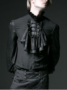 High Collar Front Chest Retro Button Flounce Lantern Sleeve Lace Cuff Black Gothic Chiffon Shirt