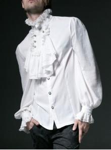 High Collar Front Chest Retro Button Flounce Lantern Sleeve Lace Cuff White Gothic Chiffon Shirt