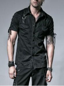Black Metal D-Buckle Leather Strap Decoration Slit Lace-Up Short Sleeve Punk Shirt