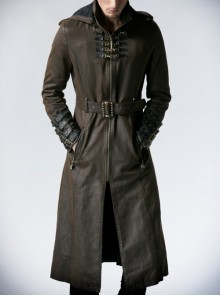 Stand-Up Collar Front Chest Metal Buckle Leather Loop Decoration Brown Punk Coat