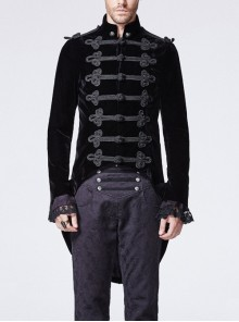 High Collar Front Chest Retro Chinese Buttons Slit Cuff Swallowtail Hem Black Gothic Coat