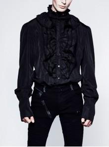 High Collar Front Chest Flounce Metal Retro Button Long Sleeve Black Gothic Shirt