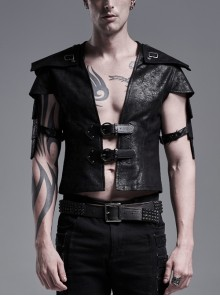 Front Leather Hasp Armor Sleeve Arm Loops Black Punk Short Jacket