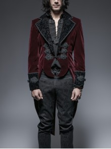 Front Classical Buttons Embroidery Cuff Back Waist Lace-Up Swallowtail Hem Wine Red Gothic Flannel Coat