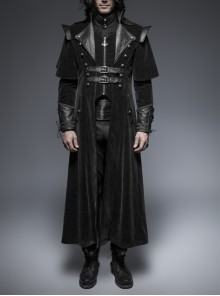 Leather Stand-Up Collar Front Metal Nail Metal Buckle Decoration Lace-Up Cuff Black Gothic Twill Long Coat