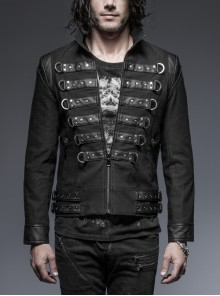 Stand-Up Collar Front Chest Leather Strap Back Lace-Up Black Punk Rough-Textured Leather Coat