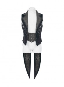 Fake Two-Piece Back Lace-Up Braid Strap Swallowtail Hem Black Gothic Flannel Coat