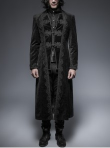Fake Two-Piece Stand-Up Collar Front Buckle Long Sleeve Black Gothic Paisley Pattern Jacquard Long Coat