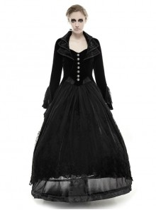 Cascade Collar Front Metal Retro Button Lace Cuff Embroidery Back Black Gothic Velvet Long Coat