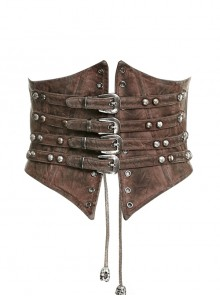 Brown Front Metal Nails Metal Hasp Decoration Back Lace-Up Punk Girdle