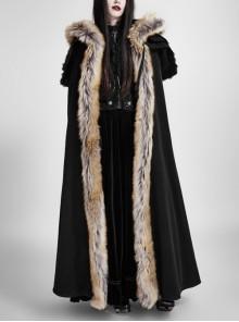 Women Black Gothic Fur Collar Wool Long Cloak