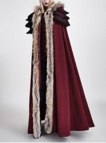 Women Wine Red Gothic Fur Collar Wool Long Cloak