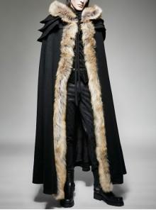 Men Black Gothic Fur Collar Wool Long Cloak