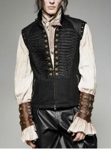 Front Ribbon Retro Metal Button Decoration Black Punk Denim Vest