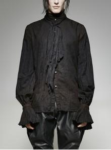 High Collar Front Retro Metal Button Frill Lantern Sleeve Flare Cuff Black Punk Painting Shirt