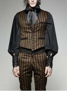 Front Retro Metal Button Back Waist Leather Hasp Brown Punk Striped Waistcoat