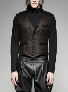 Front Retro Metal Button Back Waist Leather Hasp Brown Punk Leather Waistcoat