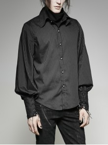 Front Retro Metal Button Lantern Sleeve Lace-Up Black Punk Striped Shirt