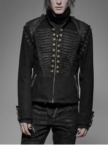 Front Chest Weave Strap Metal Retro Button Decoration Shoulder Lace-Up Long Sleeve Black Punk Coat