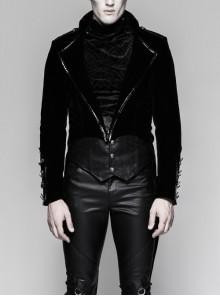 Black Gothic Woven Strap Metal Retro Button Decoration Swallowtail Hem Coat