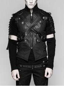 Stand-Up Collar Front Chest Retro Button Metal Buckle Leather Strap Black Punk Denim Vest