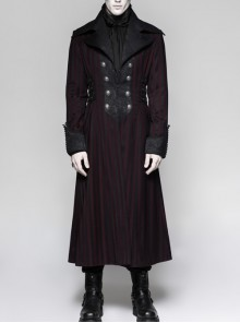 Jacquard Collar Front Chest Retro Metal Button Side Leather Hasp Dark Red Punk Striped Long Coat