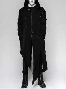 Metal Button Strap Decoration Long Sleeve Irregular Hem Black Punk Fleece Long Coat